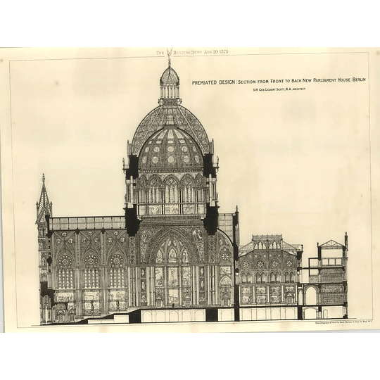 1875 Premiated Design Interior New Parliament House In Berlin, Section