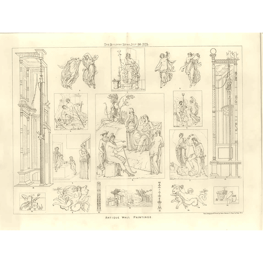 1875 Antique Wall Paintings, Design Artwork