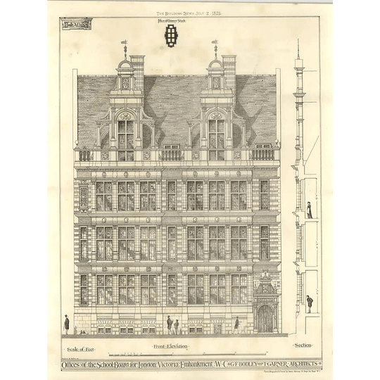 1875 Offices Of School Board For London, Victoria Embankment Front Elevation