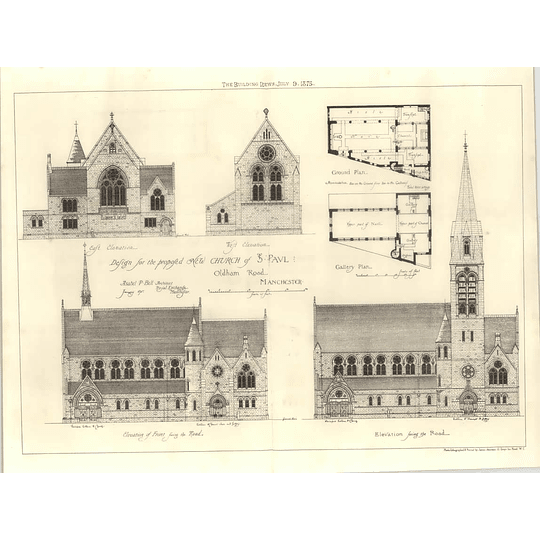 1875 Design For Proposed Church St Paul Oldham Road Manchester