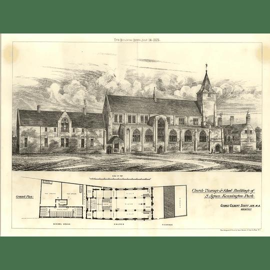 1875 St Agnes Kennington Park Church, Vicarage And School