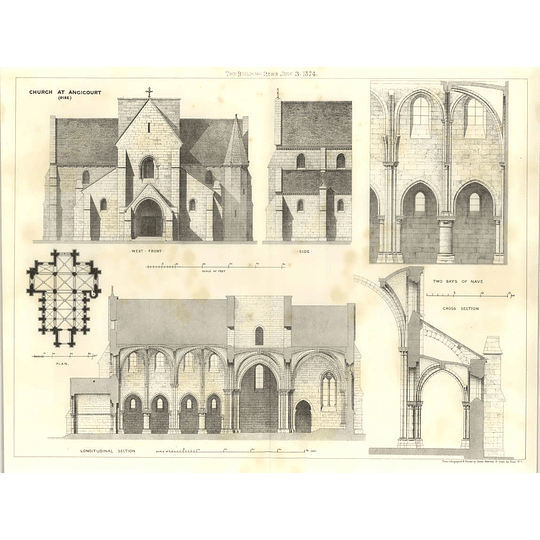 1874 Church At Angicourt, Oise, Plans Sections