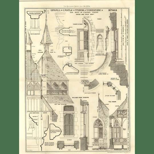 1874 Upsall Castle Thirsk Yorkshire Seat Of Capt Turton, Details