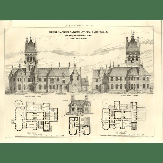 1874 Upsall Castle Thirsk Yorkshire Seat Of Capt Turton, Floorplans, Exterior