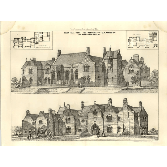 1874 Milton Hall, Kent, Residence Of Gm Arnold, Designs, Plans