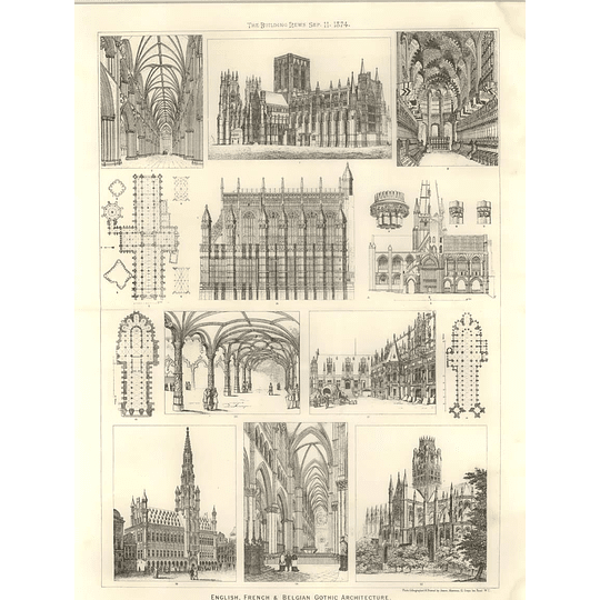 1874 English French And Belgian Gothic Architecture