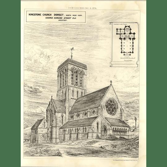 1874 Kingstone Church Dorset, North West View George Street Architect