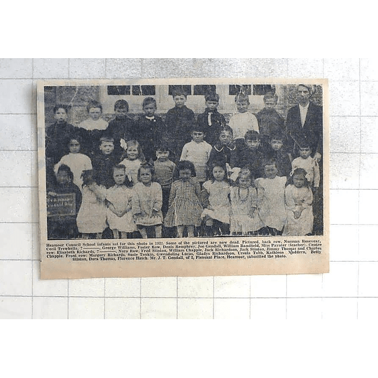 1975 Heamoor Council School Infants Photo, 1921,chapple , Stinton, Lucas, Hatch