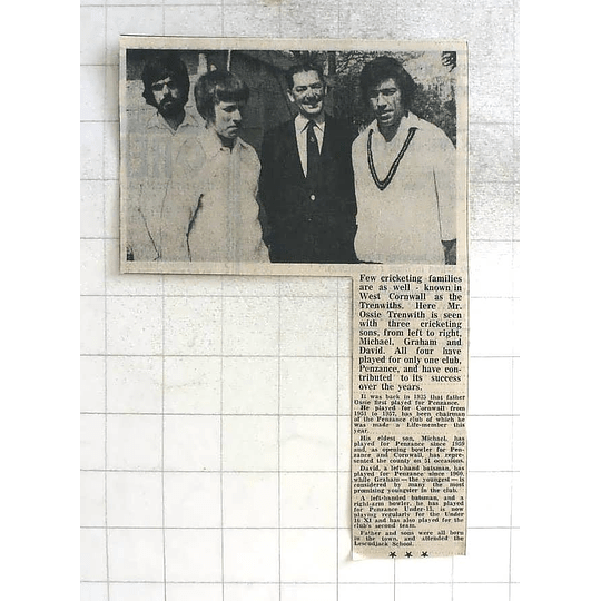 1975 Well-known Cricketing Family Ossie Trenwith And Sons, Penzance