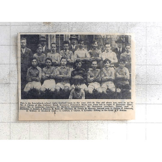 1975 Lescudjack School Rugby Football Team 1927,chinn, Freethy, Wilkey, Orchard