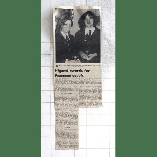1975 Penzance Red Cross Cadets Amanda Harris And Sandra Waters