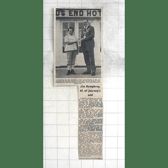 1975 64-year-old Jim Remphrey Walks John O'groats To Lands End
