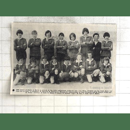 1975 Hayle Rugby Under 18's Photo, Thorton, Andrewartha, Doe, Rouffinac, Rule