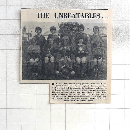 1975 Unbeatable Heamoor County Primary School Football Team Photo, Donnithorne,