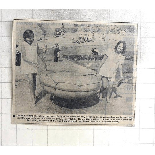 1975 Melony Colville And Shena Gibson, Liverpool, Dragging Dinghy St Ives
