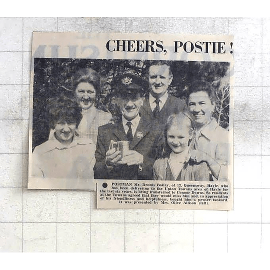 1975 Postman Dennis Bailey, Queensway Hayle Present With Tankard By Olive Alison