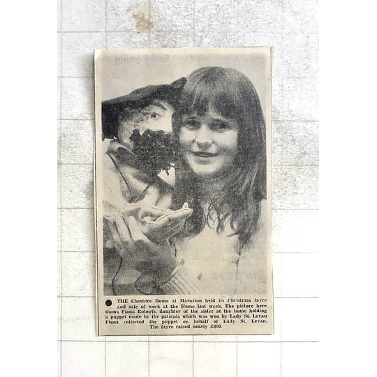 1975 Fiona Roberts, Cheshire Home At Marazion Holding Puppet Made By Patients