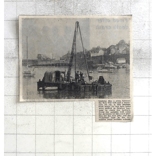 1975 Pontoon For Drilling Bedrock Of Newlyn Harbour To Position Jetty