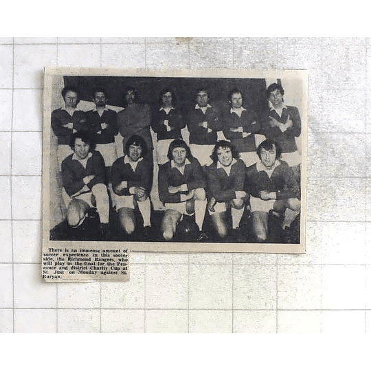 1975 Richmond Rangers Football Team Photo To Play Penzance And District