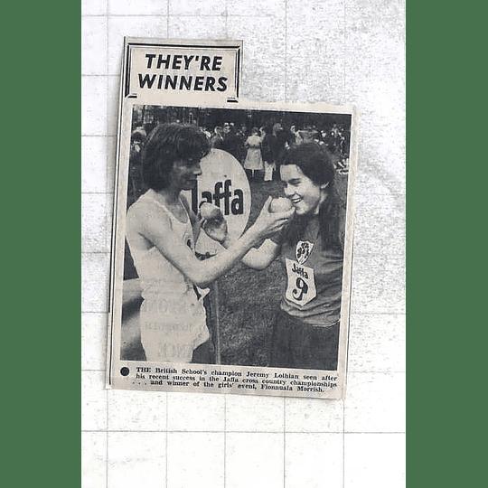 1975 British Schools Champion Jeremy Lothian With Girls Winner Fionnuala Morrish