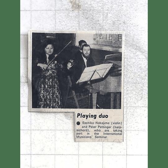 1975 Sachiko Nakajima Playing Violin With Peter Pettinger Harpsichord