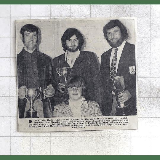 1975 Hayle Rfc Winners Ron Mungles, Tony Pratt, Paul Hurrell, Paul James