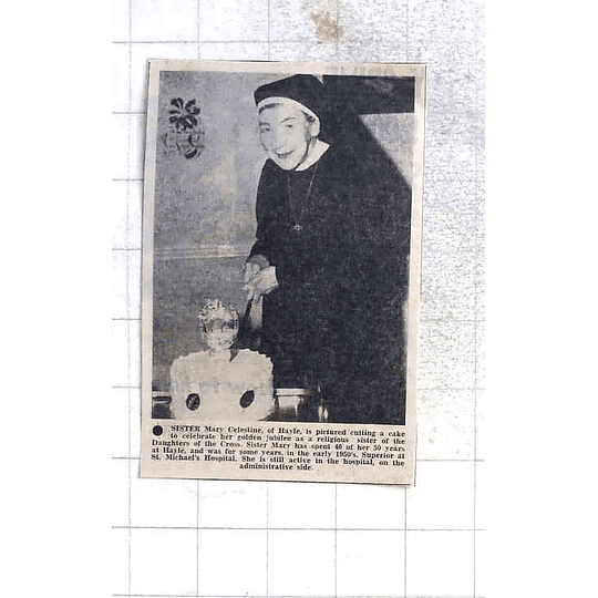 1975 Sister Mary Celestine Of Hayle Cutting Cake Daughters Of The Cross