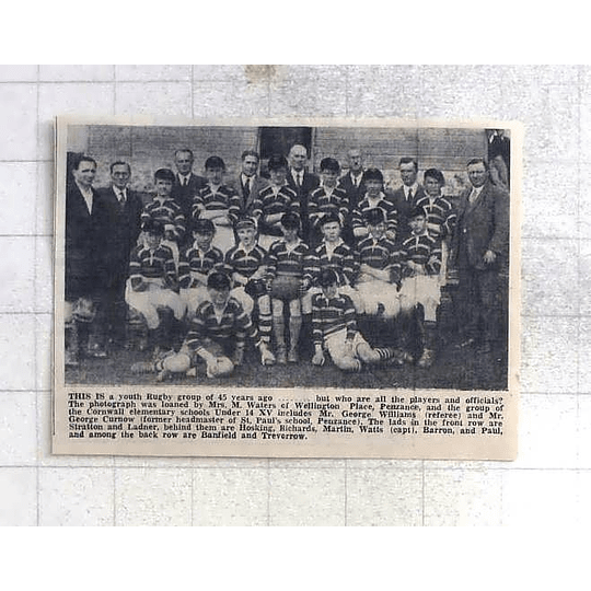 1975 Cornwall Elementary Schools Under 14 Rugby 1931, Barron, Ladner, Stratton