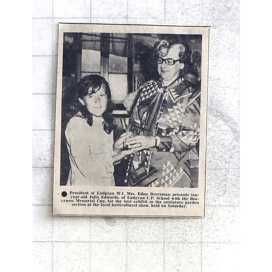 1975 10-year-old Julia Edwards Ludgvan Wins Cup Given By Edna Berryman
