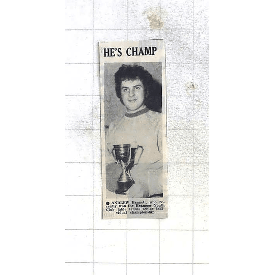 1975 Andrew Bennett Wins Heamoor Youth Club Table Tennis Championship