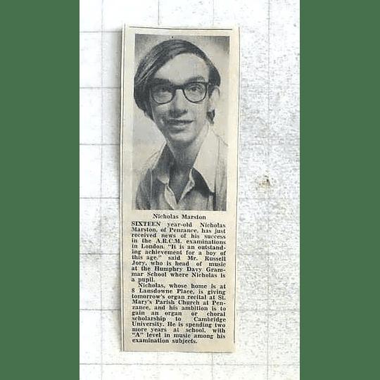 1975 16-year-old Nicholas Marston, Penzance Outstanding Music Achievement
