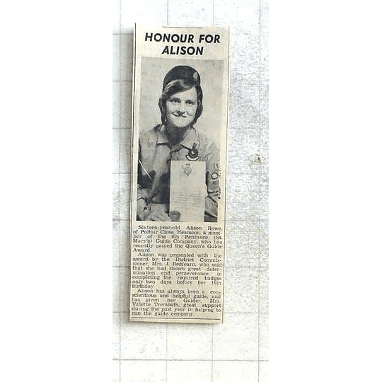 1975 Penzance Guide 16-year-old Alison Rowe,heamoor, Gains Queens Award