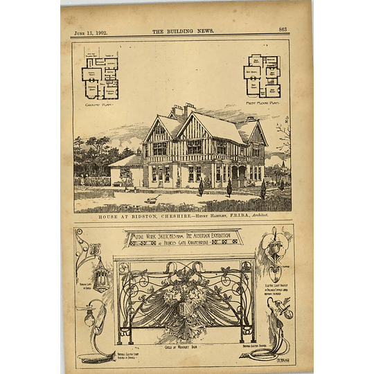 1902 House At Bidston Cheshire Henry Hartley Architect Metalwork Sketches