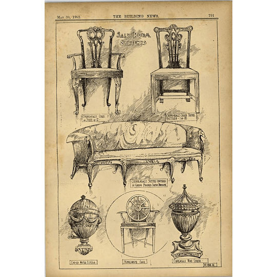 1902 Salerooms Sketches Wj Wills Chippendale Settee Chairs