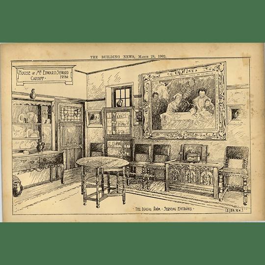 1902 House Of Mr Edward Seward Cardiff Dining Room Serving Entrance