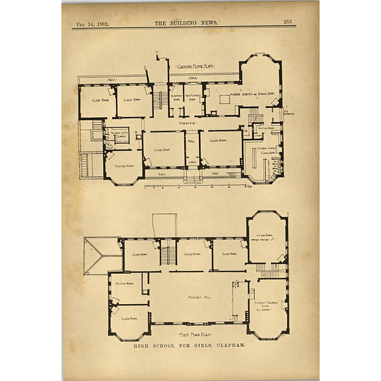 1902 High School For Girls Clapham Ground And First Floor Plans