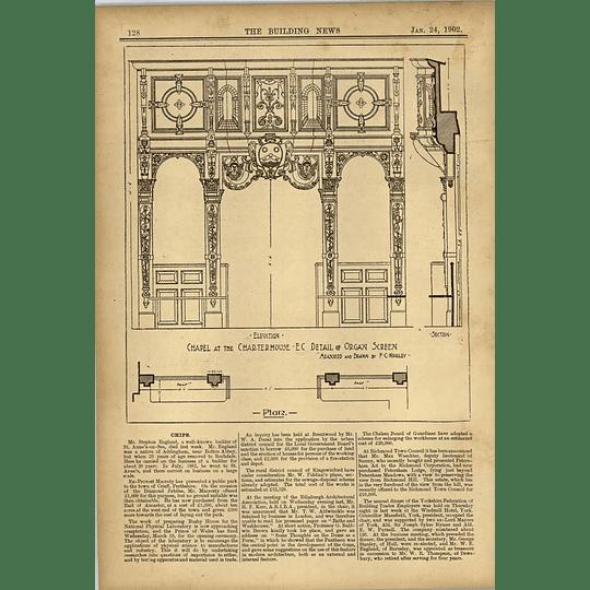 1902 Chapel At The Charterhouse Detail Of Organ Screen Drawn Fc Wrigley
