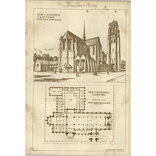 1902 New Cathedral In Cape Town View And Plan Baker Masey Architect