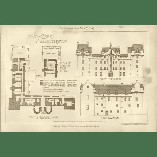 1902 Fyvie Castle Aberdeenshire Plans Elevations Drawings Arthur Nicholson