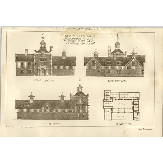 1902 Proposed New Stables Coachman's House Oakover Ticehurst For Campbell Newington