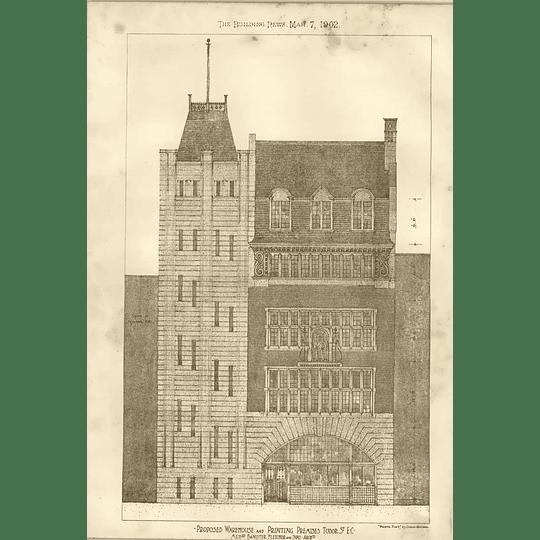 1902 Proposed Warehouse And Printing Premises Tudor Street Banister Fletcher