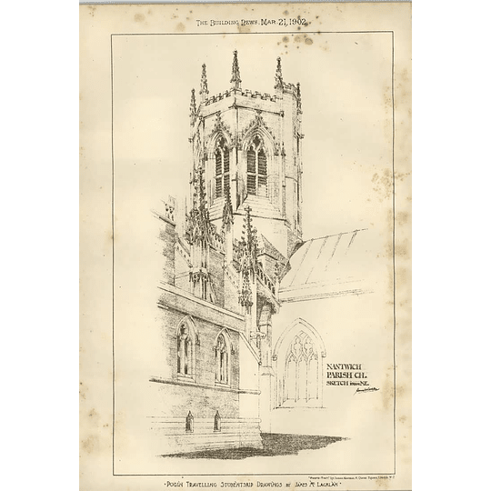 1902 Nantwich Parish Church Sketch From The North-east James Mclachlan