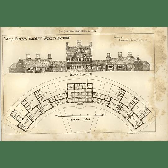 1902 Almshouses Yardley Worcs Elevations And Plan Bateman Architects