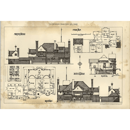 1902 Sketch For House At Barnt Green Worcs For William Dowe