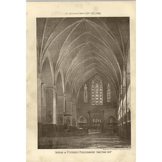 1902 Interior Of St Cuthberts Middlesbrough Temple Moore Architect