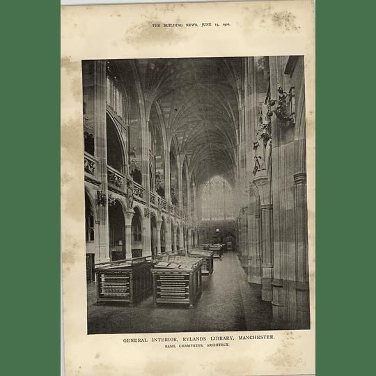 1902 General Interior Rylands Library Manchester Basil Champneys