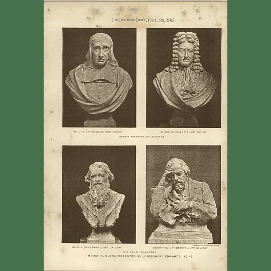 1902 Memorial Busts Hc Fehr Sculptor Milton Ruskin Browning Defoe