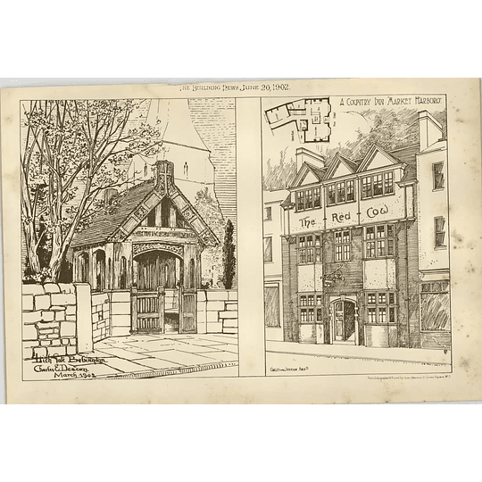 1902 Market Harborough Red Cow Country Inn Lych Gate Bebington Charles Deacon