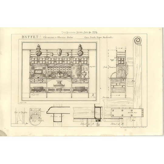 1874 Buffet Executed In American Walnut Design Freeth Roper Architect