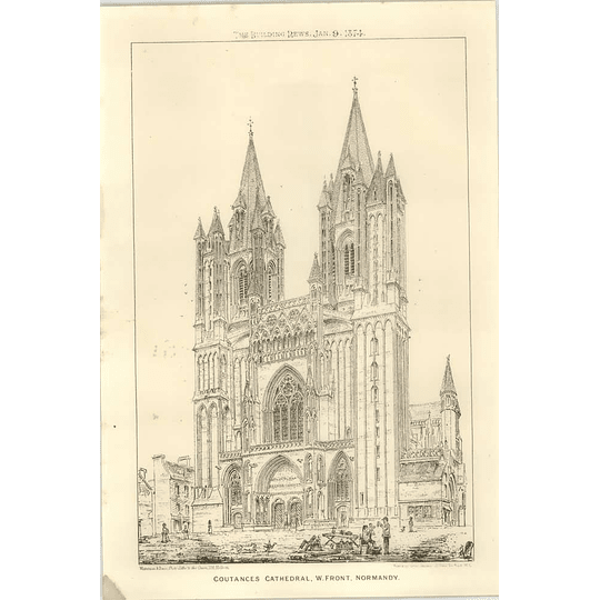 1874 Coutances Cathedral, West Front Normandy